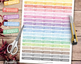 Meal Printable Planner Stickers, Watercolor Meal Stickers, Meal Stickers, Erin Condren Planner Stickers