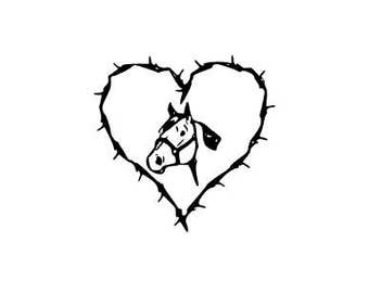Barbed Wire Heart Decal | Horse Head Decal | Horse Decal | Equine Decal | Equestrian Decal