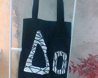 Black and white cotton  tote bag