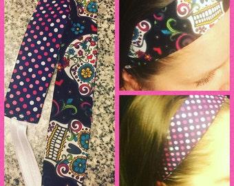 Reversible headband with sugar skulls and polka dots