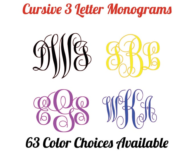 Cursive Monogram 3-letters, custom decals for yetis, cups, mugs, car, school supplies, etc. sticker