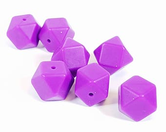 Bright purple - 18mm Hexagon Silicone Beads, teething beads, teething necklace, geometric beads, modern beads, KerrieBerrie