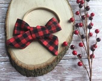 Buffalo Check Bow - Buffalo Plaid Bow - Lumberjack Plaid Bow - Plaid Bow - Plaid Headband - Buffalo Check Bow
