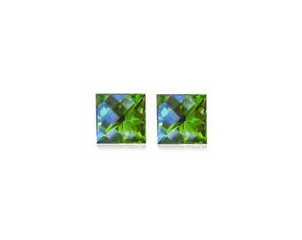 3.24-3.68 Cts of 7 mm AA Princess Checkered Board Peridot ( 2 pcs ) Loose Gemstones-393523