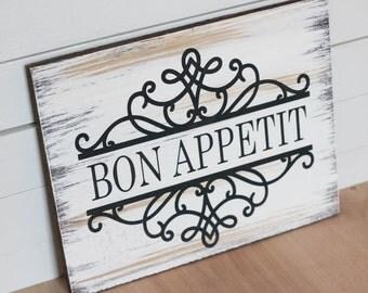 Bon Appetit Bon Appetit Wood Sign Kitchen Decor Kitchen Sign Shelf Art