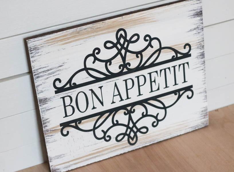 Bon Appetit Bon Appetit Wood Sign Kitchen Decor Kitchen