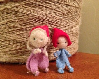 Little Waldorf Gnome Child - Miniature Wool Felted Waldorf Doll