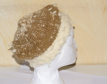 100% wool for her beret brown-beige and white woven hand