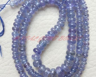 """Natural Tanzanite Rondelles, Tanzanite Smooth Rondelle Beads, 3.50-5 MM Size, 16"""" Strand, Loose Gemstone Roundel Beads, Best Quality"""