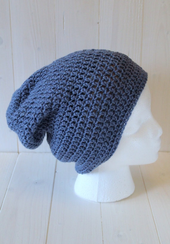 Beanie hat, Crochet beanie hat. Mens hats, Womens hats, Blue beanie hat. Slouchy hat, Slouchy Beanie hat. Slouchy hat. Ready to ship.