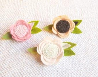 Fairy Single Felt Flower Headband - Wool Felt Rose Headband - Baby Newborn Headbands -soft peach Rose Headband
