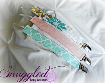 Pastel Floral Pacifier Clip Set of 3