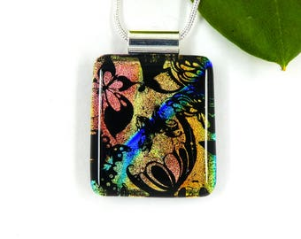 Multi coloured butterfly dichroic glass pendant
