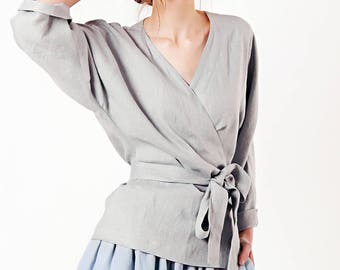 Linen Wrap Top, Grey Linen Top, Linen Tops for Woman, Linen Wrap, Linen Kimono blouse, Wrap Linen Clothing, Custom Linen Blouse