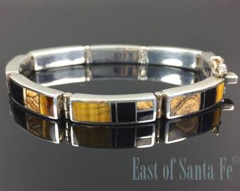 Native Earth Inlay Link Bracelet SuperSmith Zuni Navajo Signed