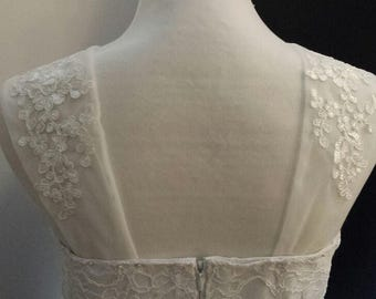 Detachable Sleeves for Regular Strapless, Off-white Soft Tulle w/Corded Lace Appliques
