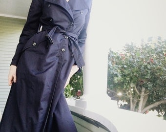 1960s Navy Double Breasted Belted Long Trench Coat Made In Spain