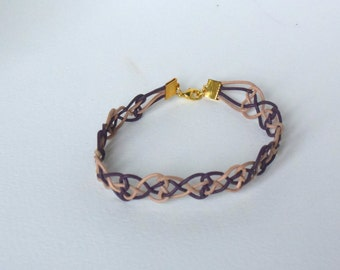 Bracelet in leather ropes - natural leather and violet