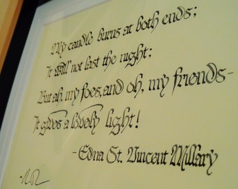 First Fig by Edna St. Vincent Millary - Mounted and Framed Original Calligraphy Piece