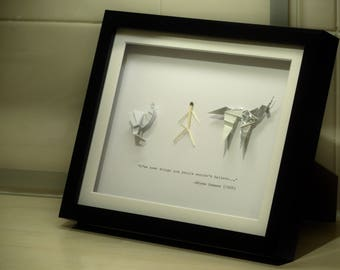 Gaff's Blade Runner Origami Framed Collection - Three Origami Figures Mounted in an 8x10in (20x25cm) Box Frame