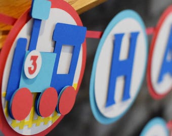 Train Birthday Banner - All Aboard - Chugga Chugga Choo Choo - Transportation