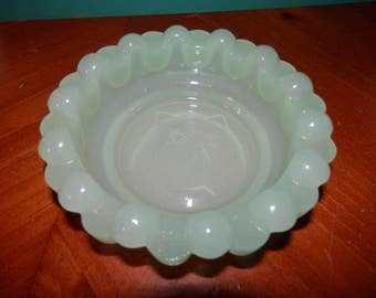 """Jadite Heavy candlewicking 5"""" Bowl Embossed Cat on the Bottom with Tie Green Glass"""