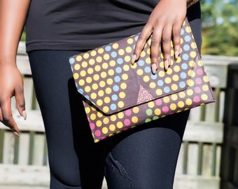 Polka Dot African Prints Envelope Clutch