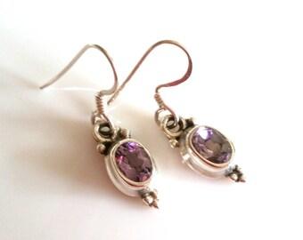 Earrings, 925 sterling silver, real jewellery, faceted Amethyst, Amethyst, gemstone earrings