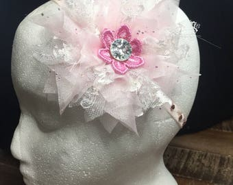 Pink and white shabby chic flower headband for baby with rhinestone detail