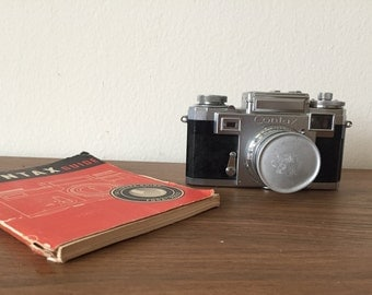 Vintage Contax Camera With Leather Case, Manual And Zeiss Sonnar 50mm Lens