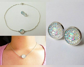 Simple Bridal Opal Shine Jewelry Set, with and without magnetic clasp. Limited Edition.