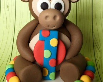 Edible fondant 3d CHEEKY MONKEY cake topper. Kids cake decorations. Baby first birthday. Baby shower.