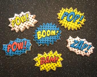 Comic Book Pop Art Sugar Cookies - 1 dozen