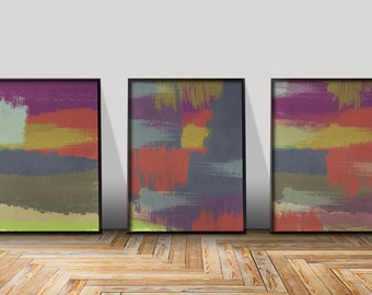 Large Abstract Art Print Wall Prints 3 Piece Panel