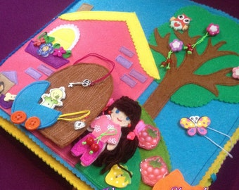 Book House of felt for doll/book House made of felt with a doll