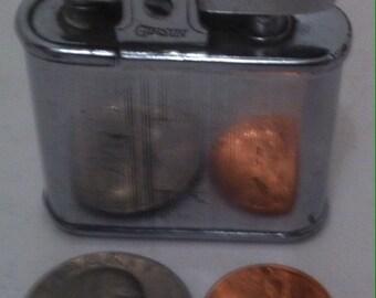 Vintage Metal Lighter, Table Lighter, Gibson, Flame Lighter, Vintage Metal Lighter