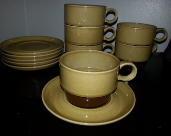 Vintage 12 PC EKCO Stoneware Cup and Saucer Set 1970'S