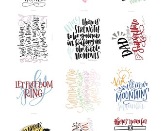 12 Month Handlettered Prints - Pack of 12