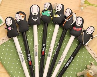 Spirited Away pens, Faceless, No-Face, 千と千寻, Gel pens, Cartoon pen, Kawaii Stationary, Cute Pens, gel ink pen, Planner Pen, Black Gel Pens