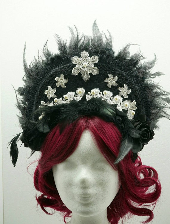 "OOAK! Crystal leaf kokoshnik with black silver glitter feathers / Frenchhood ""Crystal leaves"""