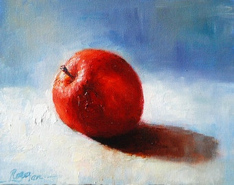 Apple, Original Oil Painting by Roger Pan on canvas board, 8x10inch