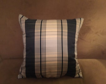 Pair (2) Dark Blue and Cream Pillows