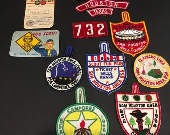 Vintage Boy Scouts, cub scouts, patches, Houston, Texas, Sam Houston, 1964, decor, collector, decor, retro, history, art, bsa, repurpose,