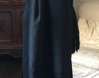 Lovely French Vintage 1930s Long Black Dress / Black Moir Fabric / Great for that Authentic French Vintage Look