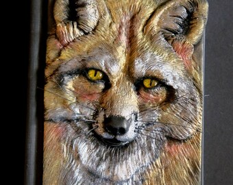 Fox journal, polymer clay journal, notebook, fantasy, 196 blank pages