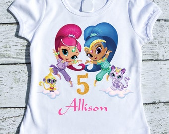 Custom Personalized Girl Shimmer and Shine  Birthday tee shirt