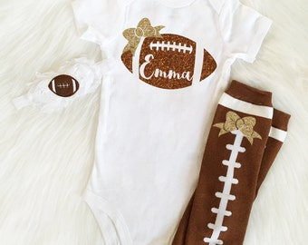 Football Baby Girl Outfit, Personalized football Outfit, Optional Football Leg Warmers and Football Headband, Football Sister