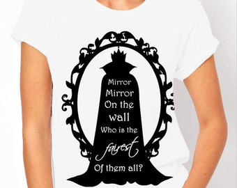 """Disney's Snow White: Wicked Witch, Evil Queen """"Mirror Mirror"""" Ladies T Shirt (2 Colour Options)"""