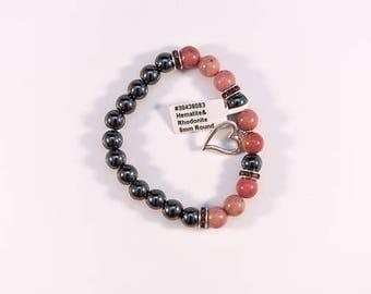 Elegant Rhodonite and Hematite Bracelet.