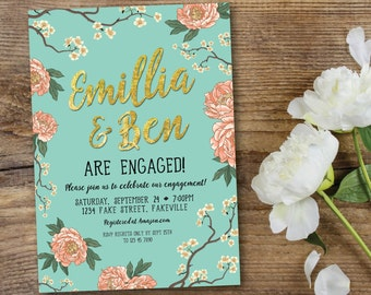 Peony engagement invitation, engagement invitation, mint and peach, mint and coral, mint, peach, coral, gold, cherry blossom (Emillia)
